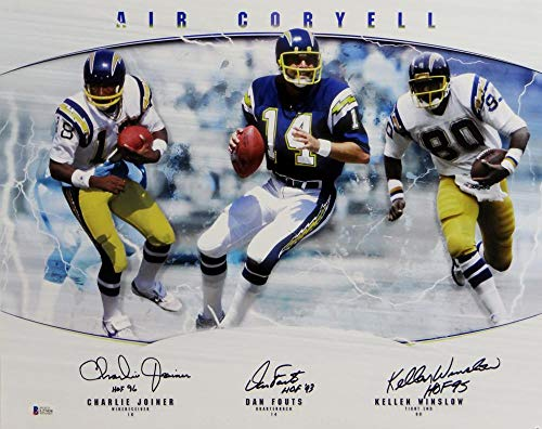 Fouts, Joiner, Winslow Autographed Chargers 16x20 Air Coryell Photo w/HOF- Beckett Auth Blk