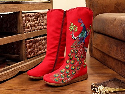 Para Red Botas Lona De Mujer Lazutom wafzq7A6
