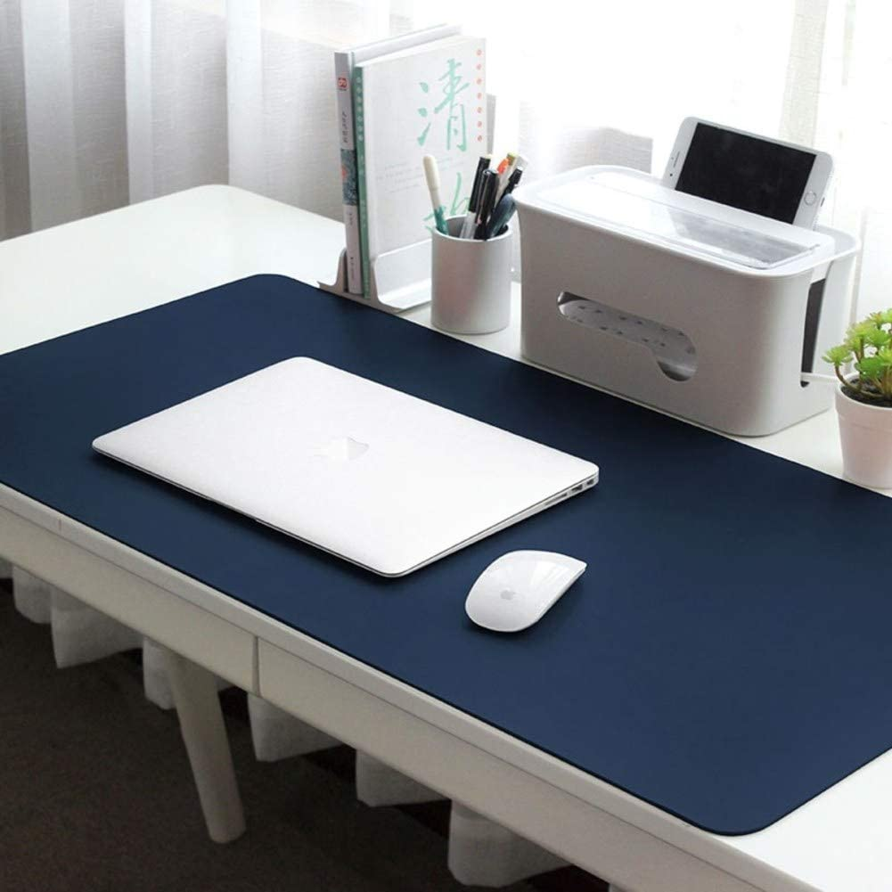Extended Leather Gaming Mouse Pad Mat,Waterproof Solid Color Mouse Mat Durable Stitched Edges Writing Desk Mat Desktop Protector-Blue 130x65cm 51x26inch