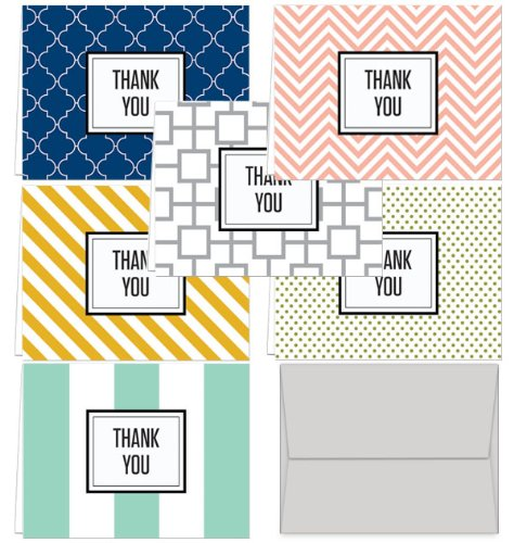 (Modern Thank You - 36 Thank You Cards - 6 Designs - Blank Cards - Gray Envelopes Included)