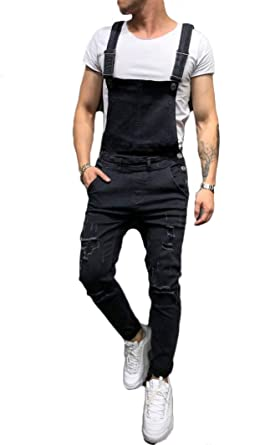 Men/'s Skinny Denim Carpenter Overalls Bib Jumpsuits Moto Biker Jean Pants S-3XL