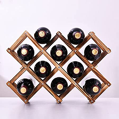 JSKK Madera Estante para Botellas,Plegable Estantes De Vino,Cocina Madera De Pino Estante De Vino,Bodega Bodega Trastero Botellero-Carbonatación 3 Botellas
