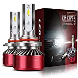 TURBOSII 9012 HIR2 LED Headlight Bulbs Conversion Kit, DOT Approved D6 Series Extremely Bright All-in-One Mini Design IP67 CSP Chipsets 12000LM 6000K Cool White,2 Yr Warranty