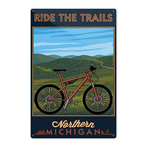 Lantern Press Northern Michigan - Mountain Bike Scene - Ride The Trails 81968 (6x9 Aluminum Wall Sign, Wall Decor Ready to Hang)