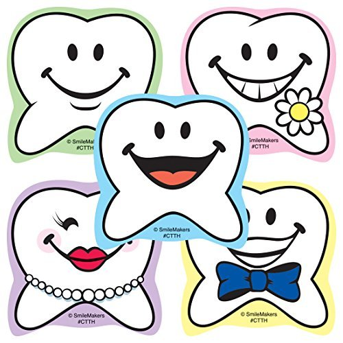 Happy Tooth Shaped Stickers - Prizes and Giveaways - 100 per Pack - Happy Tooth