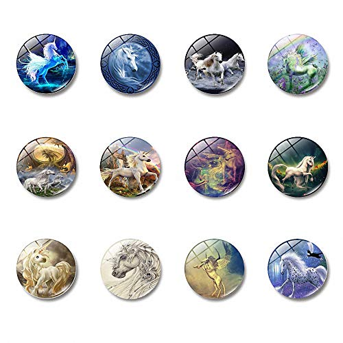 Fairy Tale Unicorn Glass Refrigerator Magnets Coloured Drawing Painted Unicorn Film Same Style Round School Office Magnets Kitchen Magnets Fridge Magnets for Toddlers Refrigerator Calendar, Set of 12 ()
