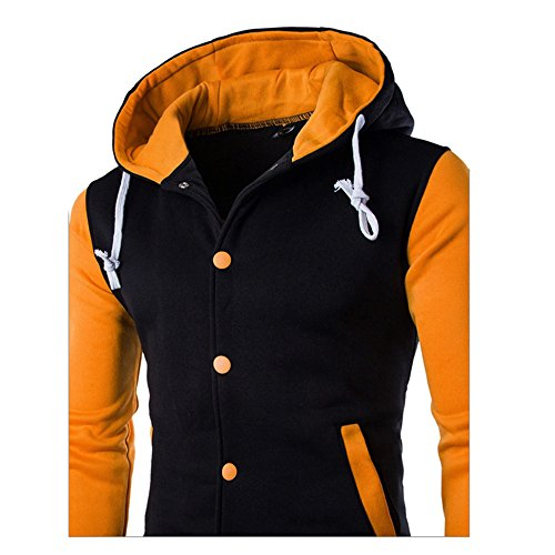 Men Outerwear Sweatshirt Hooded Slim Yellow Jacket Hoodie Retro HARRYSTORE Button Sleeve Hooded Long dqwUWP