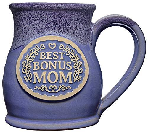 Best Bonus Mom Tall Belly Pottery Mug Handmade in USA 14 Ounce, Wisteria with Plum ()