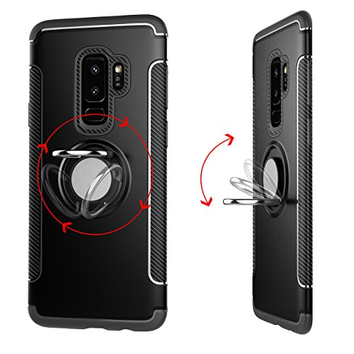 Funda Samsung Galaxy S9 Plus Case Galaxy S9+ Carcasa funda silicona TPU+PC Absorción de impacto Doble protección Cover Para soporte de coche Anillo de soporte case para Samsung Galaxy S9 Plus/Galaxy S Verde