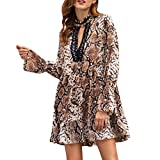 Keliay Bargain Womens Long Sleeve V-Neck Patchwork Leopard Print Flare Sleeve Loose Dress