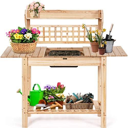 COSTWAY Tuin pottenbank plantentafel tuinwerktafel buiten hout werktafel met afneembare wastafel en schuiftafelblad Multifunctionele planter Bank werkstation met opslag planken voor achtertuin patio balkon natuurlijke