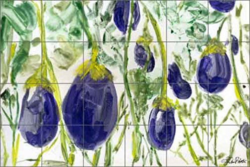 Artwork On Tile Ceramic Mural Backsplash Fresh Eggplant by LuAnn Roberto - Kitchen Shower Wall (25.5'' x 17'' - 4.25'' tiles) by Artwork On Tile