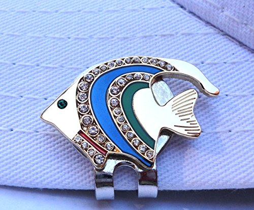 (Tropical Fish Golf Ball Marker W/ Crystals and Magnetic Hat Clip )
