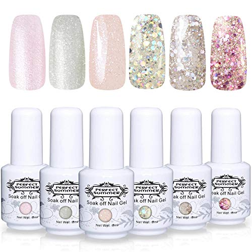 Perfect Summer Popular Glitter Gel Polish Color 6PCS Gel Nails Varnish Soak Off UV LED Manicure Starter Kit 8ML 087 (Polish Glitter Gel)