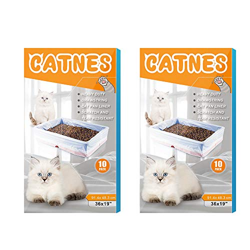Cat Litter Box Liners, Jumbo Drawstrings Scratch Resistant Cat Litter Pan Bags for Medium and Large Kitty Waste Litter Tray Supplies