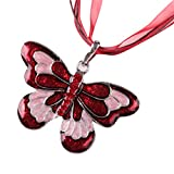 Womens Enamel Butterfly Crystal Silver Personalized Pendant Necklace by Kimloog (Red)