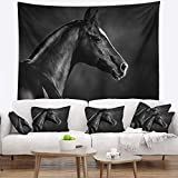 Designart TAP13467-60-50 'Black Arabian Horse Portrait' Animal Tapestry Blanket Décor Wall Art for Home and Office, Large: 60 in. x 50 in, Created on Lightweight Polyester Fabric