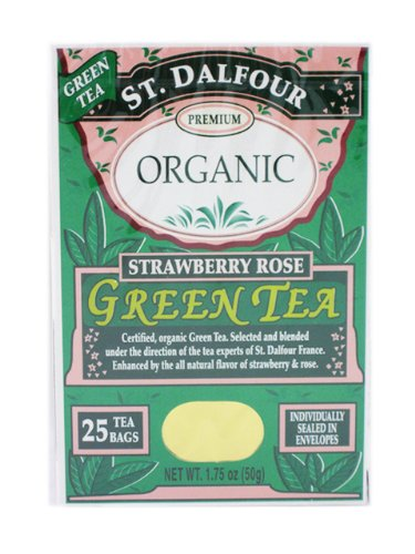 St Dalfour Organic Green Tea, Strawberry Rose, 25 Count