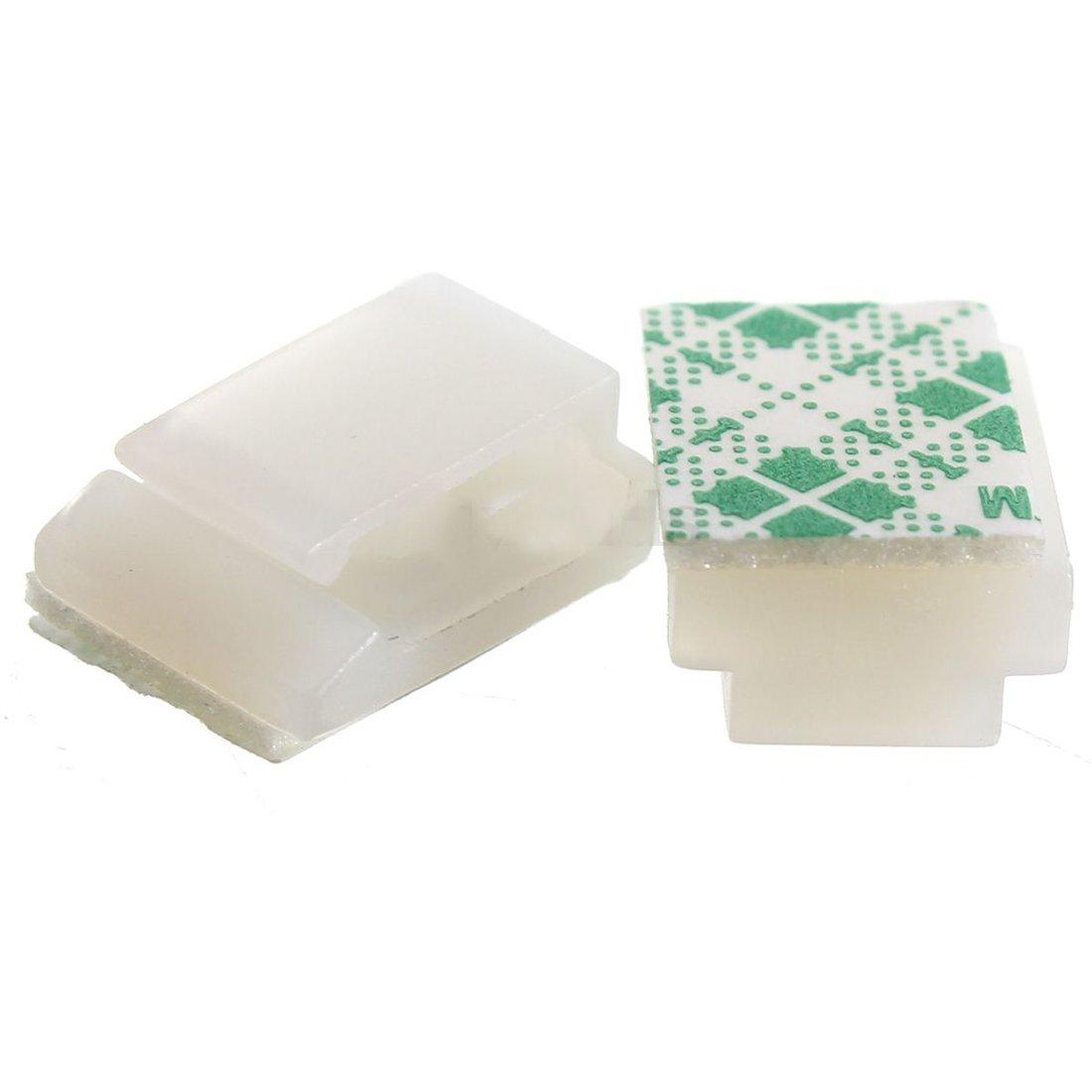 SODIAL (R)100XPlastic Wire Cable Tie mont clip Rectangle Clamp auto-adhesif blanc