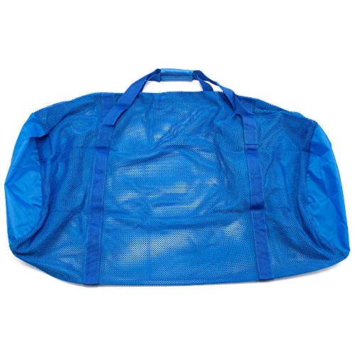 Heavy-Duty Mesh Duffle Bag. Great for Sports Equipment, Scuba Diving, Snorkeling, Swimming and More (Blue)