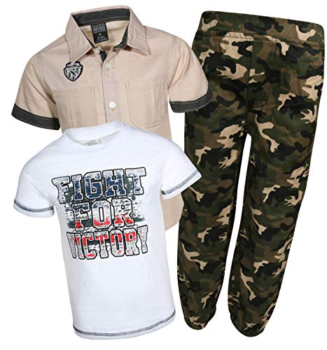 Quad Seven Little Boy\'s 3-Piece Pant Set with Woven Shirt and Tee (Khaki/Army Green Jogger, 5/6)']()