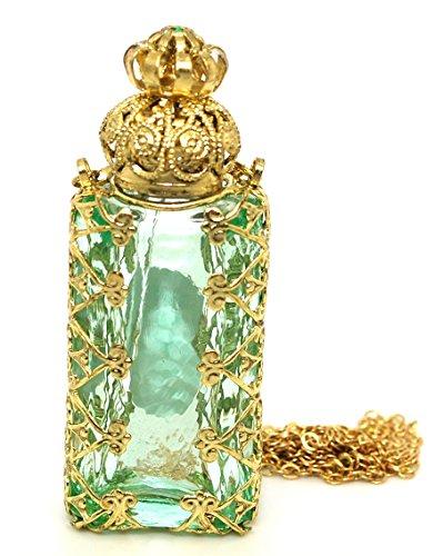 Czech Jewelled Decorative Floral Light Green Perfume Oil Bottle Holder Necklace/pendant ()