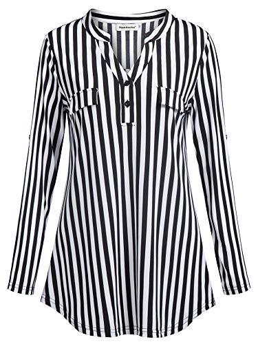 b441784b96bee5 Nandashe Womens 3/4 Roll Sleeve Shirt V Neck Button Down Blouse ...