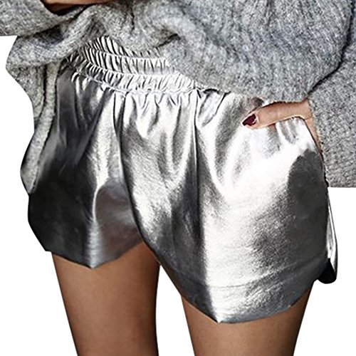 Cycle Ringer (Big Promotion!FarJing Womens Leather Shorts Mid Waist Loose Shorts Drawstring Waist Ringer Pants(M,Silver ))