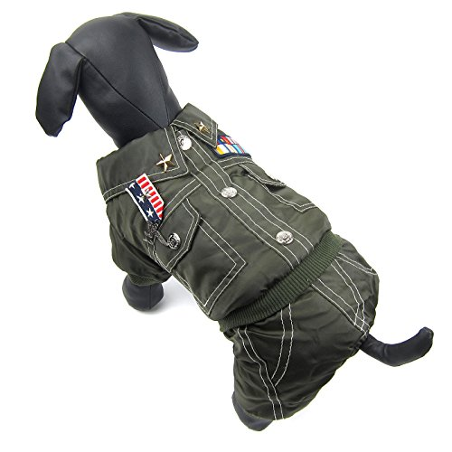 Alfie Pet by Petoga Couture - Easton Utility Jumper - Color Army Green, Size: Medium -