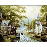 Diy oil painting, paint by number kit- Small Town 16*20 inch. by Holdfound [並行輸入品]