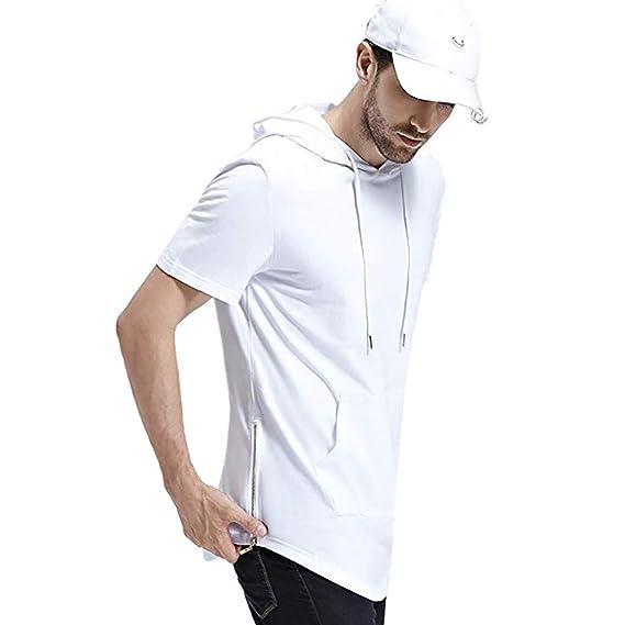 ZODOF Señores Camiseta de Moda del con Capucha de Cuello Redondo Manga Corta Cuello Redondo: Amazon.es: Ropa y accesorios
