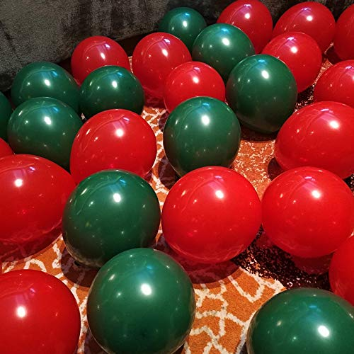 C Yumu 12 100pcs Gold Green Red Latex Balloons for Christmas Party Decoration