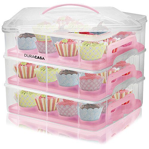DuraCasa Cupcake Carrier, Cupcake Holder - Store up to 36 Cupcakes or 3 Large Cakes | Stacking Cupcake Storage Container | Cupcake, Cookie, Muffin or Cake Dessert Carrier (3 Tier - Sweet Rectangular