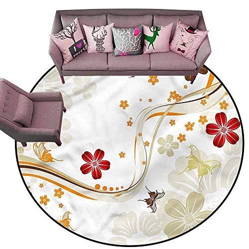 - Designed Kitchen Bathroom Floor Mat Colorful Floral,Colorful Spring Flowers Dots Diameter 60