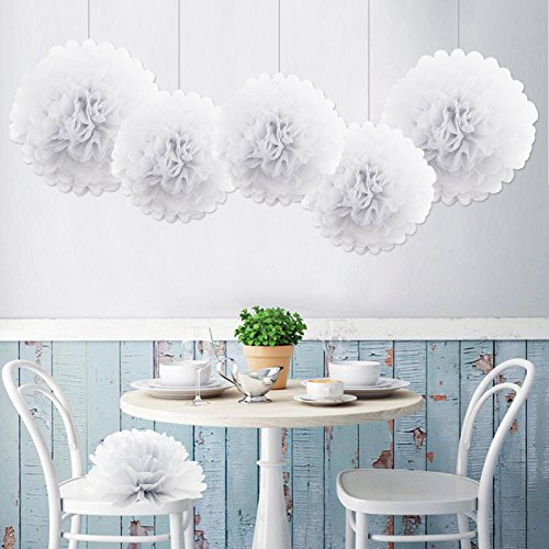 5er SET Tissue Paper Pom-Poms Flower White for Holiday, Anniversary, Birthday, Graduation, Wedding, Bridal & Baby Parties. Outdoor & Indoor Party Decorations