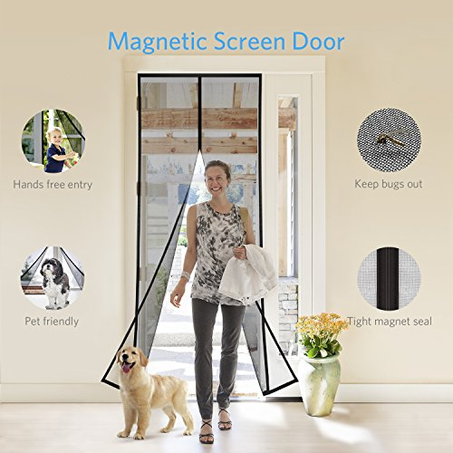Tdbest Magnetic Screen Door 36x83 Mesh Screen Door with Heavy Duty Fiberglass Mesh Curtain and Full Frame Velcro