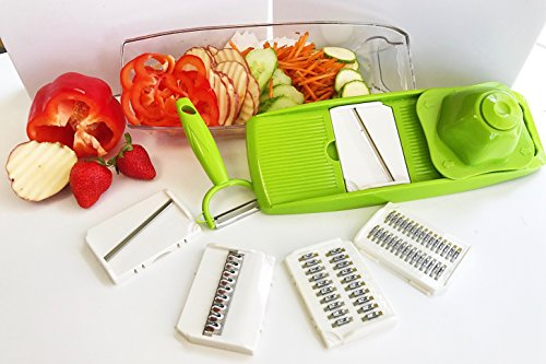 Mandoline Slicer, Vegetable Slicer 5-In-One,, 5 Interchangeable Blades, Includes Food Container and Cleaning Brush, Vegetable Peeler