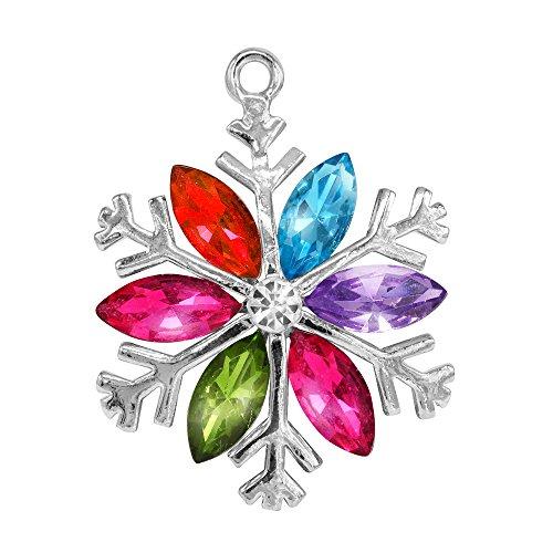 - Creative DIY Rainbow Crystal Big Snowflake Charms Pendants Wholesale (Set of 3) MH93