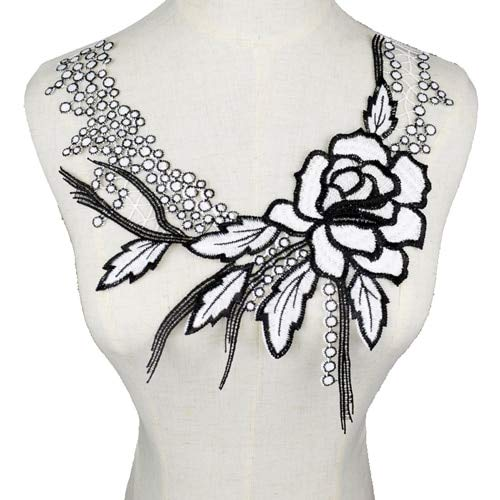 ery Collar Venise Sequin Floral Embroidered Applique Lace Neckline Collar Garment Accessories Scrapbooking - (Color: BW146) ()