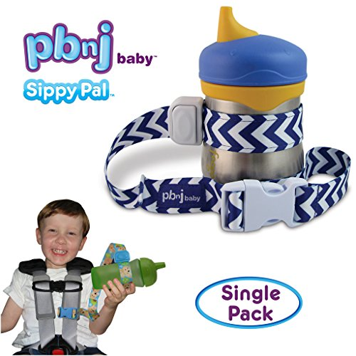 PBnJ Baby SippyPal Sippy Cup Strap Holder Leash Tether (1 Blue Chevron)