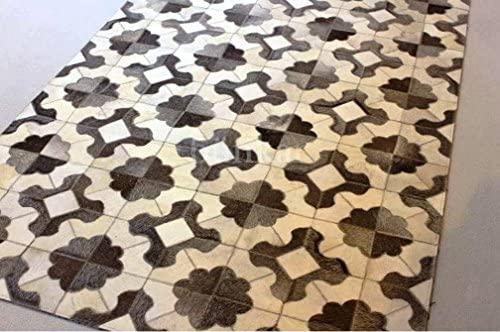 Bunkar Hand-Stitched Natural Cowhide Leather Rug 'Flowers' 6'x8' 180cm x 240cm XL Area Rug