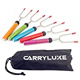CarryLuxe Marshmallow Roasting Sticks,Extendable 34'' Stainless Steel Skewers (5 Colors)