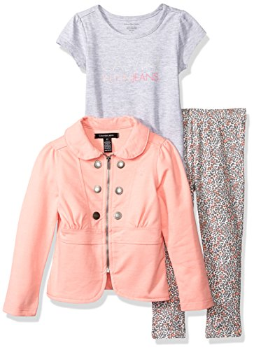 Calvin Klein Little Girls' Toddler 3 Piece Twill Jacket, T-Shirt, and Pant Set, Gray, 2T ()
