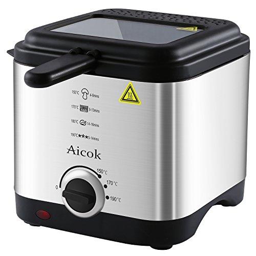 Aicok Fritteuse, Mini-Fritteuse mit Temperaturregelung, 1,5 Liter Fettfüllmenge, Deckel mit Sichtfenster und Edelstahlkorb