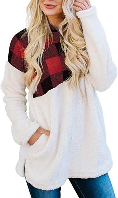 Vectry Camisa Mujer Moda para Mujer Oversize Fluffy Fleece ...
