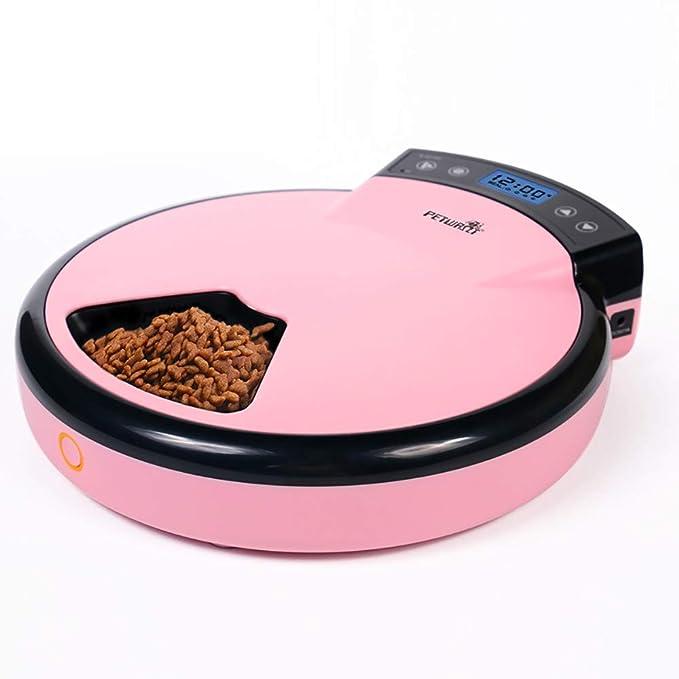 LAYBAY-PetBottles Comedero Automático Alimentador de Mascotas para Perros y Gatos Comida húmeda y Seca 5 Comidas 5 x 240 ML Reloj Digital Alimentado por ...
