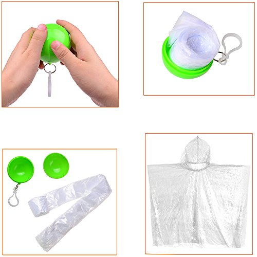 6 Pcs Disposable Rain Ponchos Ball for Adult or Kids with Hook Packed in Colorful Portable Ball for Fear of Sudden Rain When Enjoying Outdoor Activities
