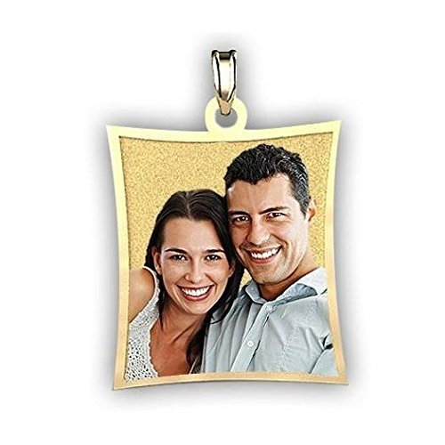 Curved Rectangle Photo Pendant Charm - Solid 14K White Gold (1 Inch X 1-1/4 (Rectangle White Gold Pendant)