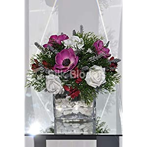 Silk Blooms Ltd Artificial Scottish Purple Anemone and Pink Freesia Flower Arrangement w/Lavender and Asparagus Fern