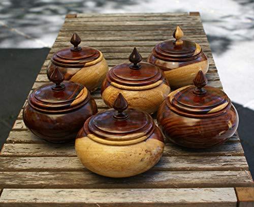 (6 piece figured Bocote wood nut candy dish bowl set with matching)